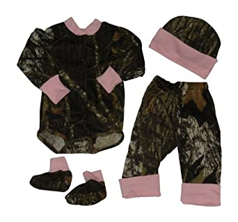 Amazon.com: Mossy Oak & Pink Baby Set, Infant Girls LS Diaper ...