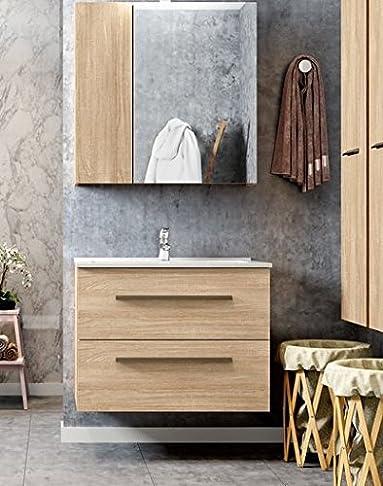 Mobile base sospeso per bagno completo di lavabo art. 56B02 - 2 Cestoni - Colore Quercia