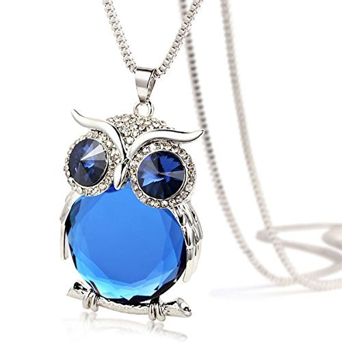 Joannala Trendy Owl Necklace Crystal Jewelry