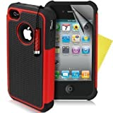Supergets® Shock Proof Dual Layer Apple Iphone 4 4g 4s Protective Case,Screen Protector And Polishing Cloth - Red