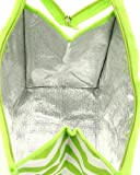 Womens Nylon Insulated Lunch Tote Bag (Lime Green & White Chevron)
