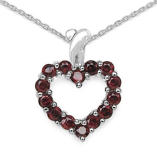 1.12 Carat Genuine Garnet 925 Sterling Silver Heart Pendant