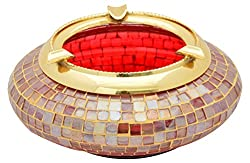 the home Glass Ash Tray (18 cm x 18 cm x 6 cm, Red and Gold)
