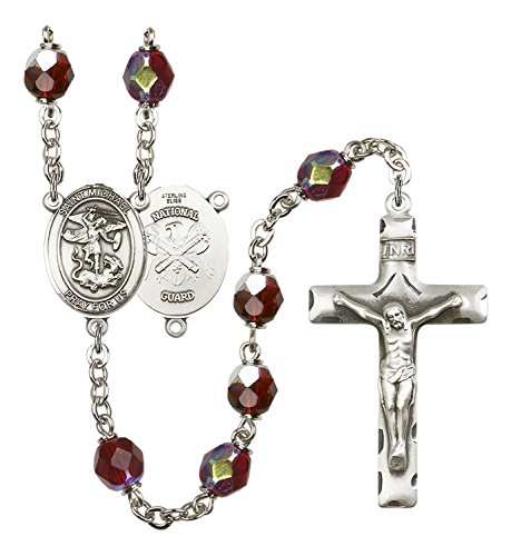Solid Silver-Plated Rosary 7Mm Garnet Lock Link Aurora Borealis Beads Religious Cross Crucifix 1 3/4 X 1 Centerpiece St. Saint Michael Us Army Nat'L Guard Medal Pendant Necklace Rosaries