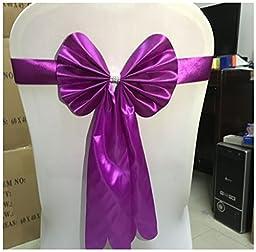 LinStar Spandex Chair Cover Bow Sash Wedding Banquet Decor -Amaranth 20PCS