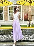 MIYUTAKA(ミユタカ) ウエストゴムなので楽ちん! 程よいシルエットが男性の目を奪います♪ シフォン ふんわり フレア Aライン ロング マキシ 丈 スカート 5色(M~Lサイズ相当) (パープル)