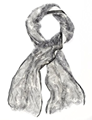 Per Una Double Layer Floral Lace Scarf with Silk