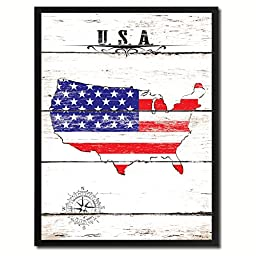 USA Flag Map Art Picture Frame Vintage Office Interior Wall Home Decor Cottage Chic Gift Ideas