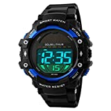 Gosasa Men's Outdoor Sports Multifunction Solar Power LED Digital Watches 50M Water Resistant Blue
