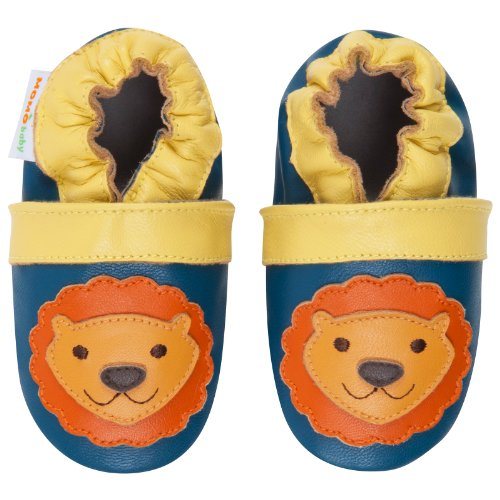 Momo Baby Infant/Toddler Mighty Lion Navy Soft Sole Leather Shoes - 0-6 Months/1-2.5 M Us Infant front-978829