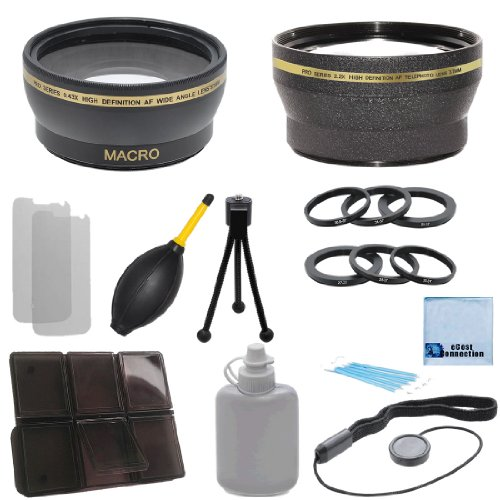 37Mm 0.43X Wide Angle Lens + 2.2X Telephoto Lens With Deluxe Lens Accessories Kit For Olympus Om-D W/ 14-42Mm Lens & 45Mm Lens, E-P15 W/ 14-42Mm Lens, E-Pm2 W/ 14-42Mm Lens & E-P2 W/ 14-42Mm Lens & 17Mm Lens, & Ring Adapters