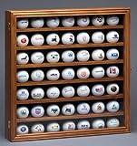 Wood Golf Ball Collector Display Case 48 Balls Walnut Finish