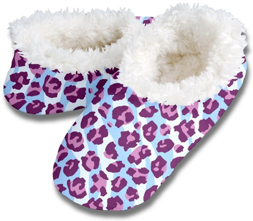 Cheap Snoozies Womens Fleece Lined Footies, Purple Leopard Zebra Extra Large (100-316V)