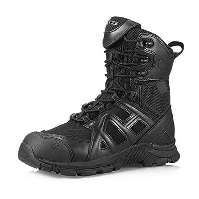 MIAOW 本革 タクティカルブーツ メンズ 軍靴 ハイカット ミリタリーブーツ アウトドア エンジニアブーツ シューズ 防水 防滑 通気性 サイドジッパー 黒 43