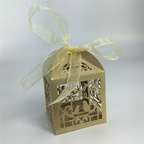 Derker 50 Pcs Romantic Hollow Out Love Birds Laser Cut Square Wedding Favor Candy Boxes Bridal Shower Party Favor Gift Boxes - Ribbon Included (Gold)