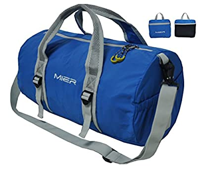 MIER Lightweight Folding Holdall Gym Bag Nylon Sports Bag, Water-Resistant and Foldable Into Itself Duffle