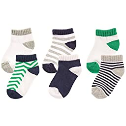Luvable Friends 6-Pack No Show Socks, Blue and Green, 0-6 Months