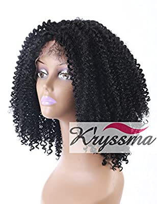 K'ryssma Black Women Afro Kinky Curly Wigs With Baby Hair for African American Synthetic Lace Front Wig Heat Freindly Fiber Hair #1b Color 16 Inches