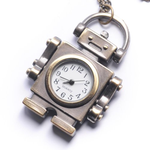 81stgeneration Women's Brass Retro Style Robot Pocket Watch Chain Pendant Necklace, 78 cm (Robot Watch Vintage compare prices)