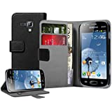 Membrane - Black Wallet Book-Style Case for Samsung Galaxy S Duos 2 (GT-S7582) - Flip Phone Cover