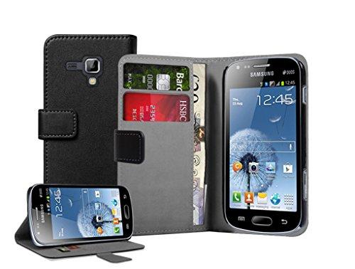 Membrane - Schwarz Brieftasche Klapptasche Hülle Samsung Galaxy Trend Plus (GT-S7580) - Wallet Flip Case Cover Schutzhülle