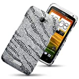 HTC ONE X ZEBRA STRIPED DIAMANTE DISCO BLING BACK COVER BY CELLAPOD CASESby CELLAPOD