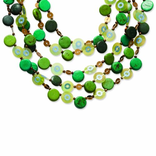 Silver-Tone Multicolor Hamba Wood & Bead 16in Necklace