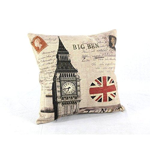 45X45Cm Retro London Union Jack Big Ben Linen Cushion Covers front-1054368