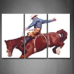 Modern Home Decoration painting 3 Panel Wall Art Cowboy Riding Horse At Rodeo White Background Pictures Print On Canvas Animal The Picture piece
