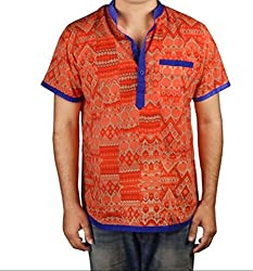 Riverbero Men's Casual Shirt (SN_DHS_231_Red_42)