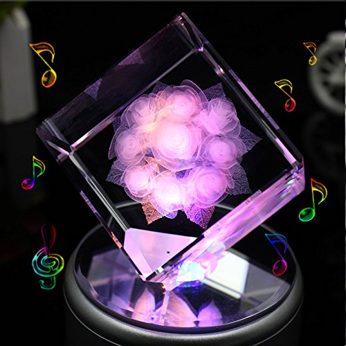 LIWUYOU Square Crystal 3D Rose Flower Colorful LED Light Rotating Musical Box, Rose, Music Base
