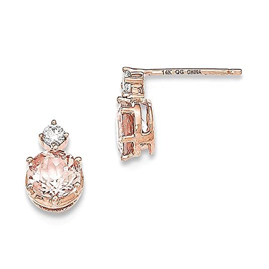 14k Rose Gold Round Morganite & Diamond Post Earrings