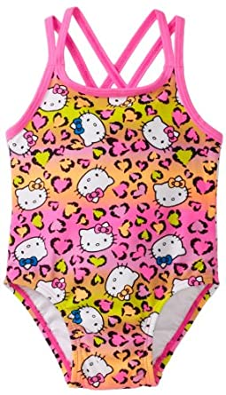 Hello Kitty Baby-girls Infant Animal Print One Piece Swimsuit, Hot Pink, 12 Months