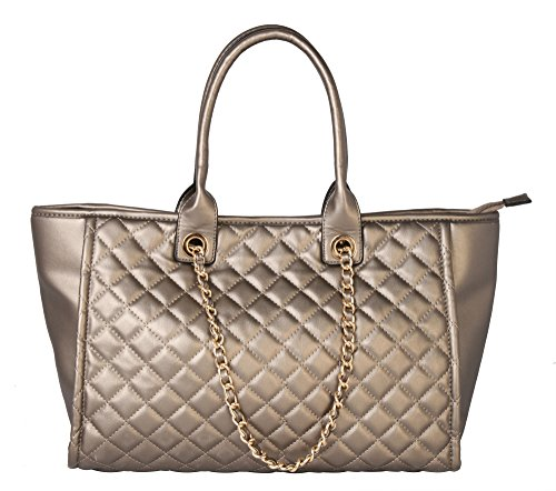 Rimen & Co. Womens Metal Chain Fashion Quilted Riptop Tote Zipper Closure Shoulder Handbag Oversized Purse GA-2887 (Pewter) (Quilted Zipper Tote compare prices)