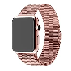 Apple Watch Band, Mr.Pro Brand Best Milanese Loop Stainless Steel Bracelet Strap with Strong Magnet Buckle, Smart Watch Bands Replacement for iWatch with Unique Magnet Lock (Rose Gold 42mm)