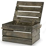 Antique Grey Wood Crate Storage Box With Swing Lid - 11in