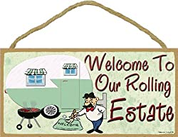 Welcome To Our Rolling Estate Camping Sign Pull Camper Plaque 5x10