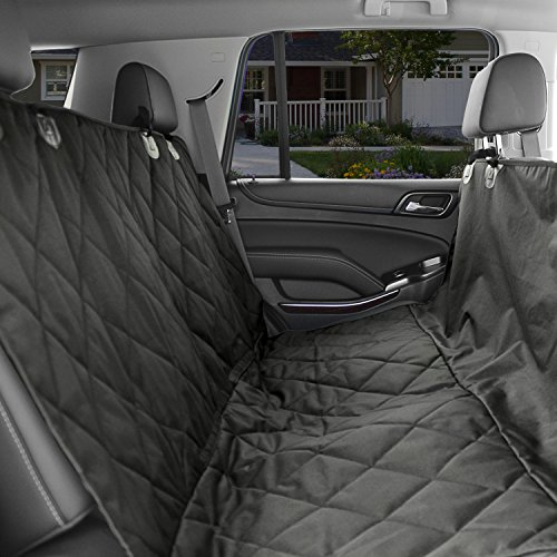 dog car seat cover black waterproof non slip padded quilted protector with seat anchors and. Black Bedroom Furniture Sets. Home Design Ideas