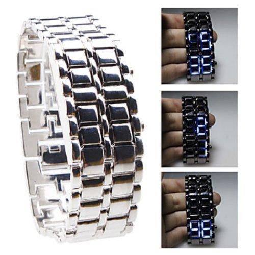 Baolihao Silvery Metal Strip Digital Lava Style Iron Men Sport Blue Led Faceless Wrist Watch Wth0412