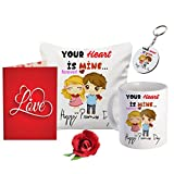 Sky Trends Valentine Combo Gift For Boyfriend Printed Coffee Mug Cushion Cover Keychain Greeting Card Artificial Rose Gift For Kiss Day Propose day Promise Day Hug Day Rose Day Gifts