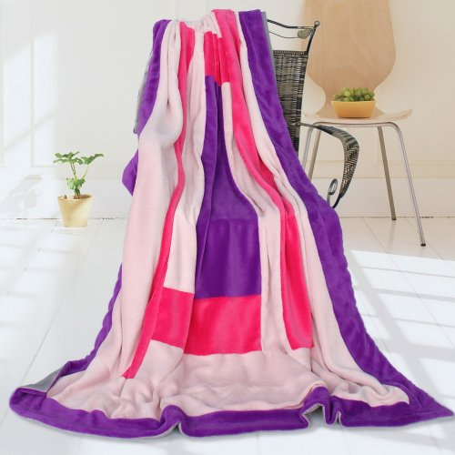 Onitiva - [Violet Love] Soft Coral Fleece Patchwork Throw Blanket (59 By 78.7 Inches) front-366531
