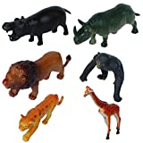 Wild Zoo Forest Animals Plastic Toy Set - Pack Of 6 - 1c182 - Educational & Decorative Toys For Kids