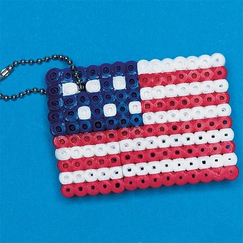 S&S Worldwide Fuse Bead American Flag Craft Kit (Makes 12)