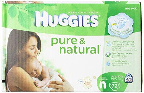 Huggies Pure & Natural Diapers, Newborn, 72 Count