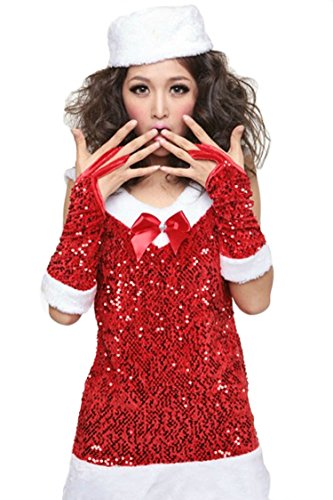 Pink Queen Womens Sexy Sequined Christmas Holiday Costume Miss Santa Claus Dress