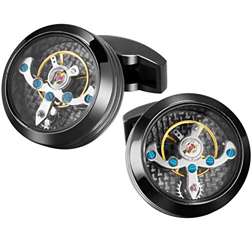 FLORAY 1 Coppia di nera rotonda semplice Watch Movimento Machinery design Gemelli
