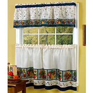 "36"" Long Veggies Kitchen Curtain Tier Pair And Valance Set"