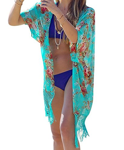 GenialES Parei Copri Nappa Floreale per Donne Costume da Bagno Taglia Unica Lunghezza 92 centimetri Verde