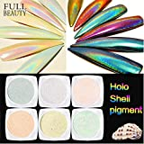 Tempea Mermaid Magic Aurora Chameleon Seashell Pearl Pigment Powder Rose Gold Blue Marble hologhraphic Rainbow Laser Glitter Unicorn Nail Shimmer dust Mother of Pearl Pink Chrome Nail kit (6 Jars) (Color: 6 jars)