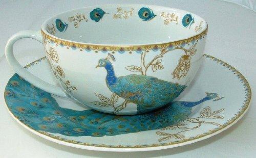 222 Fifth Peacock Garden Fine Porcelain Multi-Purpose Large Cup & Saucer (Doubles As Bowl & Plate)